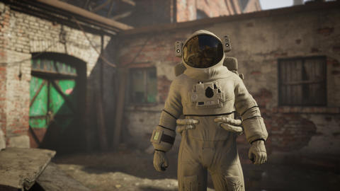 Lost Astronaut near Abandoned Industrial Buildings of Old Factory Live Action