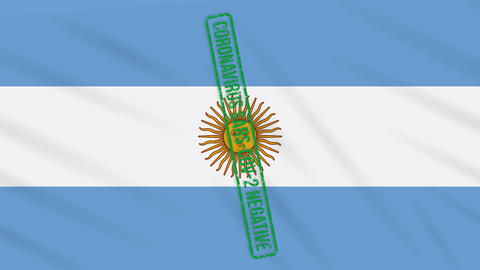 Argentina swaying flag with a green stamp of freedom from coronavirus, loop Animation