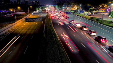 Time lapse clip in evening with traffic of cars Live影片