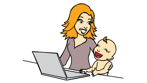 Work from home Women with laptop and kid Line Drawing Animation Transparent background Vector Motion Videos animados