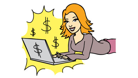 Work from home Happy women with laptop dollar sign mark Line Drawing Animation Transparent Videos animados