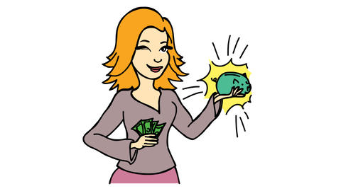 Work from home Happy women saving money Line Drawing Animation Transparent background Vector Motion Videos animados