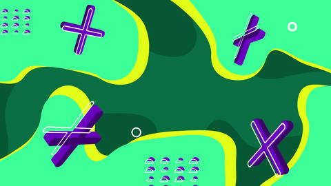 Green abstract background with blue 3D crosses. Loop GIF