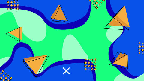 Animated abstract background with 3D pyramids. Loop GIF