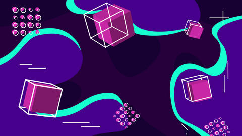 Abstract background with three-dimensional cubes. Loop GIF