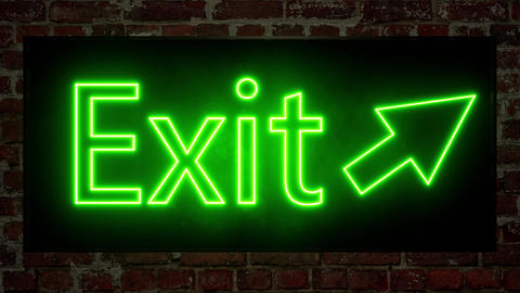 Enter exit neon sign . Open door. Escape sign. Vintage cinema metal sign Live Action