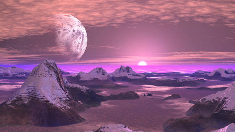 Snowy Mountains Alien Planet Animation