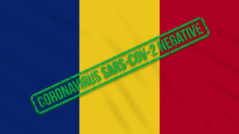 Romania swaying flag with green stamp of freedom from coronavirus, loop Animation