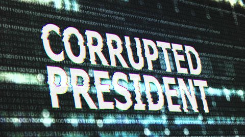 4K Corrupted President Signal Notification Display Animation
