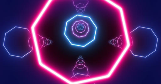 Looped Flying Through Glowing Neon Octahedrons Live Action