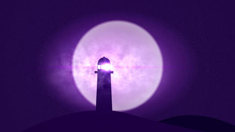 Light House in starry night with smoke and shooting stars Animation