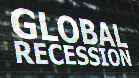 4K Global Recession Corrupted Signal Notification Display Animation