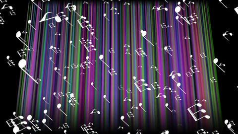 Colorful music, flying white music notes on background with multicolored moving Animation