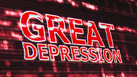 4K Great Depression Corrupted Signal Notification Display Animation
