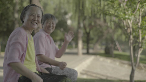 Woman pensioner in the park. Beijing. China. Asia Live Action