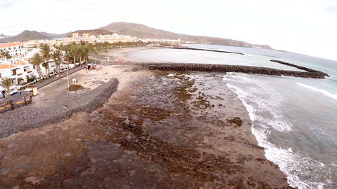 Aerial view of a beautiful island in the ocean. Tenerife, Spain, Canary Islands Live Action