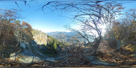 Picturesque scenery the Hojuzan Risshaku Temple from the surrounding mountain, Yamadera, Japan, Asia VR 360° Video