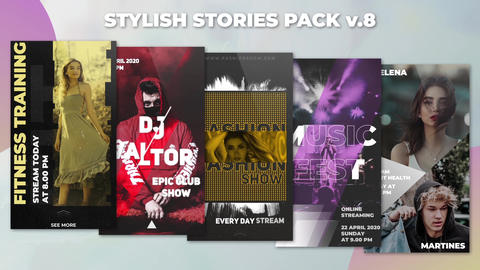 Stylish Stories Pack v 8 After Effectsテンプレート