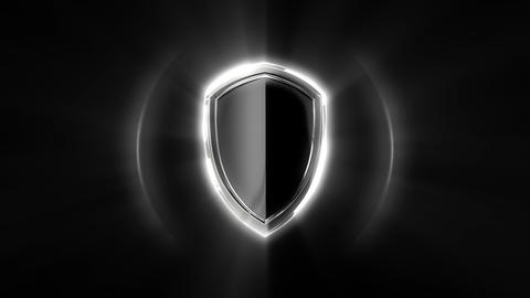 Protection shield with shining lights on black background looped Animation