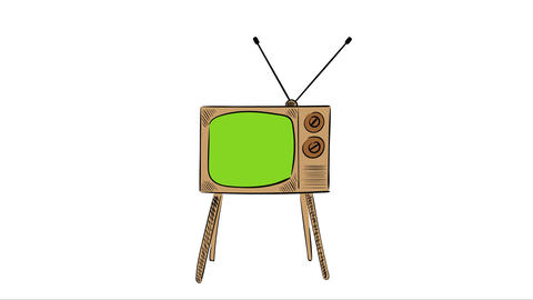 TV and moving antennas white back Animation