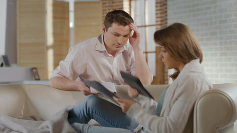 Man, woman arguing over money problems, family relations crisis Footage