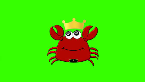 King Crab Cartoon Character on Green Screen: Loop + Matte Animation
