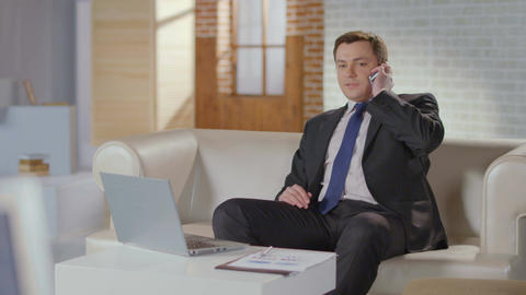 CEO, boss making phone call. Luxury office, businessman at work Footage