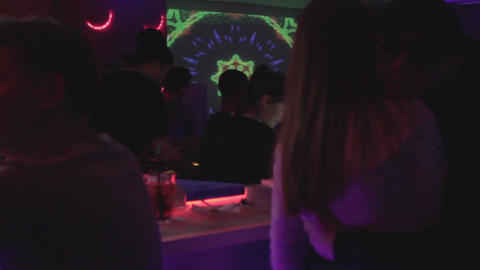 Couple hugging, kissing at bar counter, romantic relationships Footage