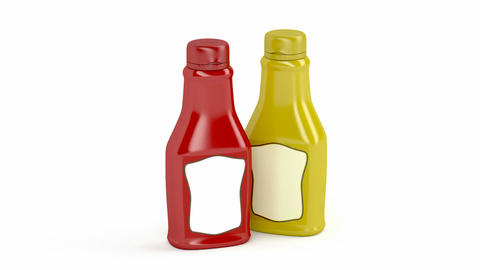 Ketchup and mustard bottles Animation