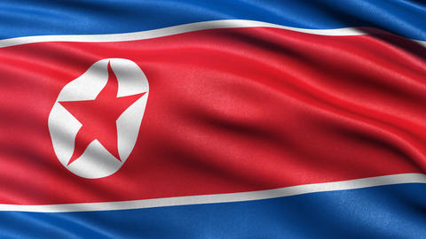 North Korea flag seamless loop. Democratic People's Republic of Korea Animation