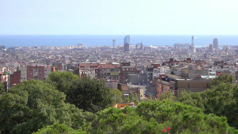Amazing overlook over Barcelona from Park Guell La Salute Footage