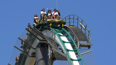 People Riding Roller Coaster Footage