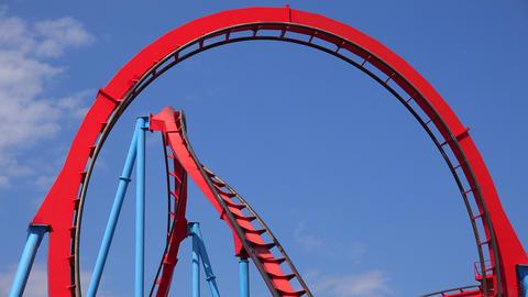Roller Coasters At Amusement Park Live Action