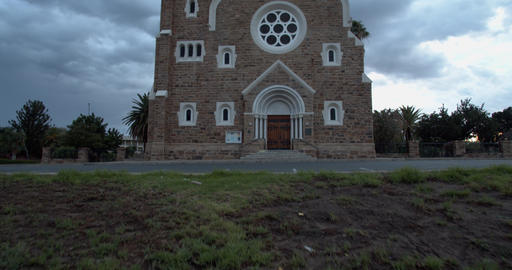 CHrist Church early in the morning on a cloudy morning, Windhoek, 4k Live Action