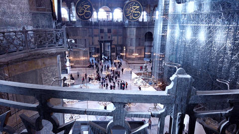 Istanbul, Turkey, 2nd of Feb 2020, St Sofia, an ancient historical cathedral and a mosque in Turkey Live Action