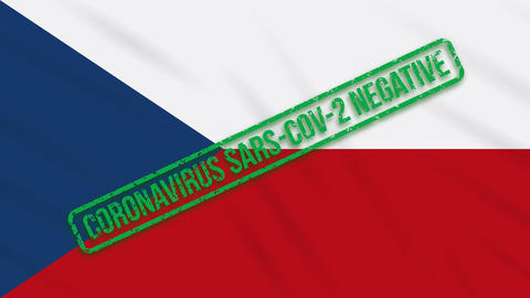 Czech swaying flag with a green stamp of freedom from coronavirus, loop Animation