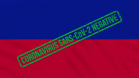 Haiti swaying flag with green stamp of freedom from coronavirus, loop Animation