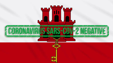 Gibraltar swaying flag with a green stamp of freedom from coronavirus, loop Animation