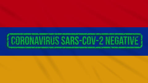 Armenia swaying flag with a green stamp of freedom from coronavirus, loop Animation