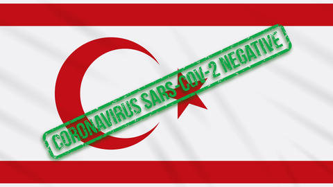 Turkish Republic of Northern Cyprus swaying flag with a green stamp of freedom Animation
