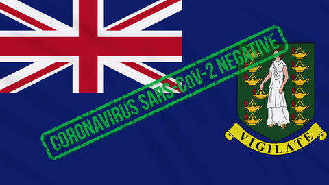 British Virgin Islands swaying flag with green stamp of freedom from coronavirus Animation