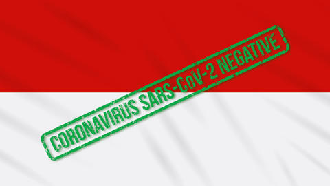 Indonesia swaying flag with green stamp of freedom from coronavirus, loop Animation