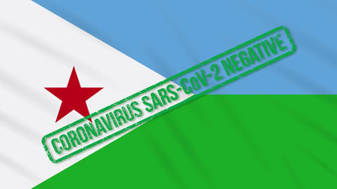 Djibouti swaying flag with green stamp of freedom from coronavirus, loop Animation