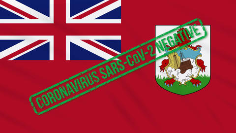 Bermuda swaying flag with green stamp of freedom from coronavirus, loop Animation