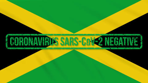 Jamaica swaying flag with green stamp of freedom from coronavirus, loop Animation