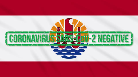 French Polynesia swaying flag with green stamp of freedom from coronavirus, loop Animation