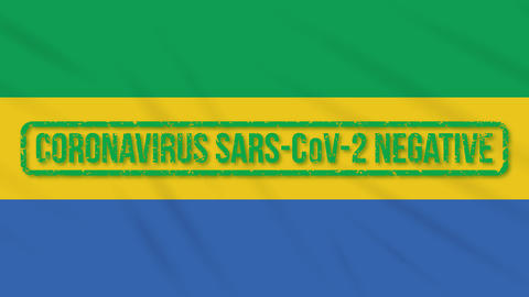 Gabon swaying flag with green stamp of freedom from coronavirus, loop Animation