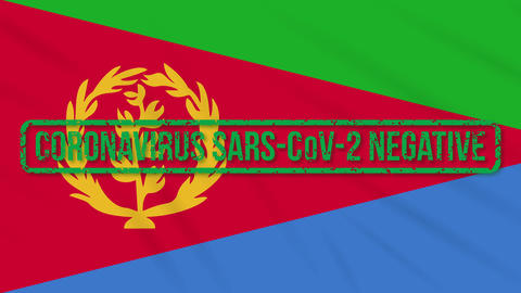 Eritrea swaying flag with green stamp of freedom from coronavirus, loop Animation