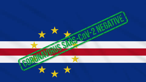Cape Verde swaying flag with green stamp of freedom from coronavirus, loop Animation