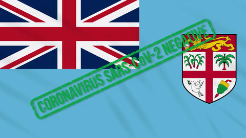 Fiji islands swaying flag with green stamp of freedom from coronavirus, loop Animation